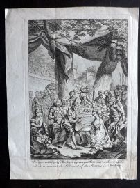 Smollett & Ravenet 1767 Antique Print. Vortigern King of Britain Espouses Rowena